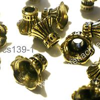 Casquete dorado 8 mm de largo por 10 mm de diámetro set de 10 unidades