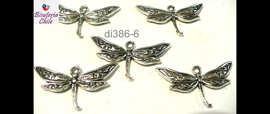 Dije plateado en forma de libélula, 32 mm de ancho por 17 mm de alto, set de 5 unidades