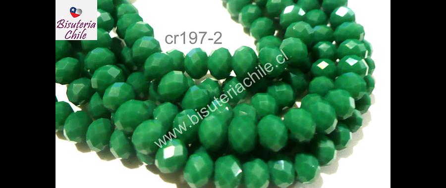 Cristal chino facetado verde de 6 mm de diámetro por 5 mm de ancho tira de 100 unidades