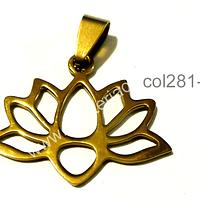 Colgante acero dorado, flor de loto, 23 mm de ancho por 23 mm de alto, por unidad