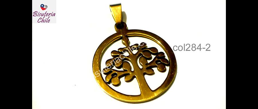 Colgante acero dorado,árbol de la vida, 27 de diámetro, por unidad