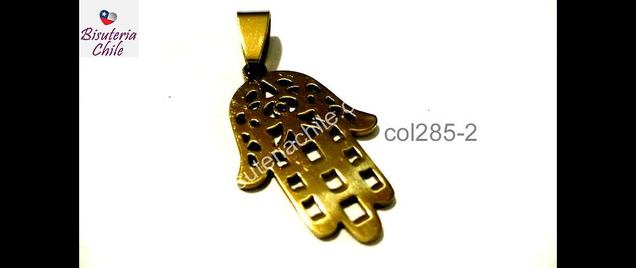 Colgante acero dorado, mano hamsa, 26 mm de largo por 18 mm de alto, por unidad