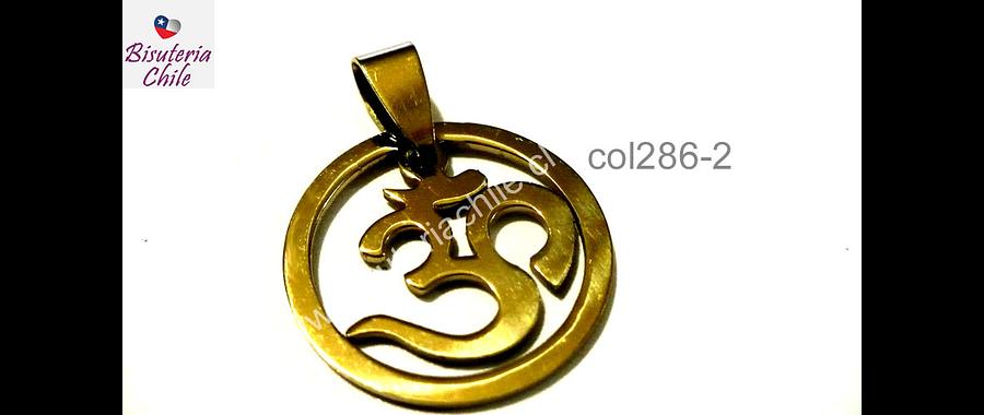Colgante acero dorado, Om, 25 de diámetro, por unidad
