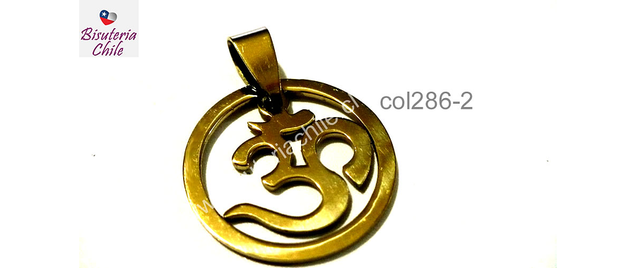 Colgante acero dorado, Om, 22 de diámetro, por unidad
