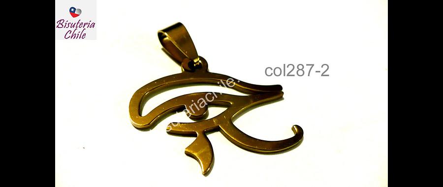 Colgante acero dorado, ojo de orus, 28 mm de ancho por 22 mm de largo, por unidad
