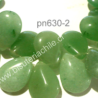 Jade en forma de gota, 18 mm de largo por 13 mm de ancho, tira de 14 unidades