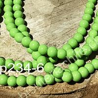 Perla de vidrio verde limón de 6 mm, tira de 72 perlas aprox: