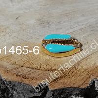 Separador dorado en forma de concha con aplicación color calipso, 19x13, por unidad