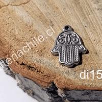 Dije mano de hamsa de acero, 20 x 15 mm, por unidad