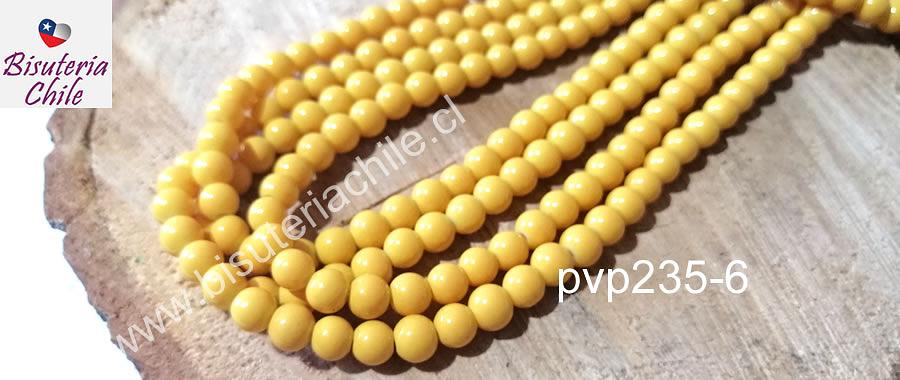 Perla de vidrio amarillo de 6 mm, tira de 72 perlas aprox