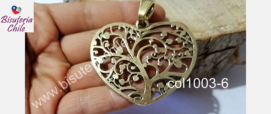 Colgante dorado corazón, 56 x 50 mm, por unidad