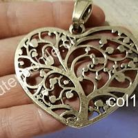 Colgante dorado corazón, 56 x 50 mm, por unidad. San Valentin