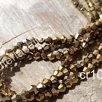 Cristal tupi 4 mm en color dorado metalizado, tira de 75 cristales aprox.