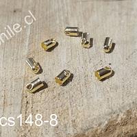 Terminal baño de oro, 6 x 3 mm, agujero de 3 mm, set de 8 unidades