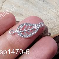 Dije doble conexión en forma de hoja, con strass, 23 x 10 mm, por unidad