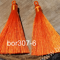 Borla gruesa 1era calidad, de hilo de seda, color naranjo, 7 cm de largo, set de dos unidades