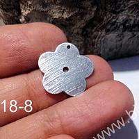 Dije baño de plata en forma de flor, 17 mm de diámetro, por unidad