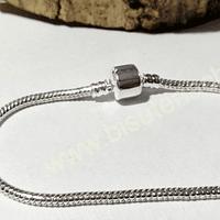 Cadenas, cadena pulsera plateada, 19 cm de largo, por unidad