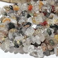 Piedra chip mix, tira de 85 cm aprox. tamaño de piedra chico (jade, cuarzo rutilado, cornalina, cuarzo cristal)
