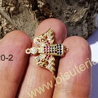 colgante zirconia dorada, ángel, 20 x 11 mm, por unidad