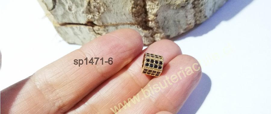 Separador zirconita dorada con cristales negros, excelente calidad, 7 x 9, agujero de 5 mm, por unidad