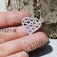 Dije baño de plata, en forma de corazón, 20 x 19 mm, por unidad