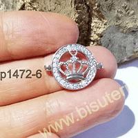 Dije zirconita corona con strass en color plateado, 20 x 16 mm, por unidad