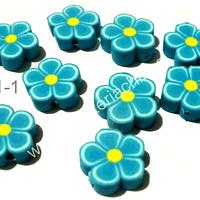 Flor engomada color calipso, 12 mm de diámetro, set de 9 unidades