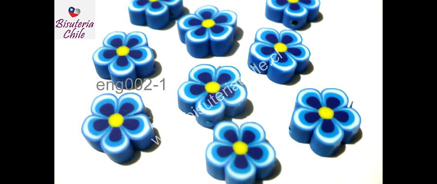 Flor engomada color azul, 12 mm de diámetro, set de 9 unidades