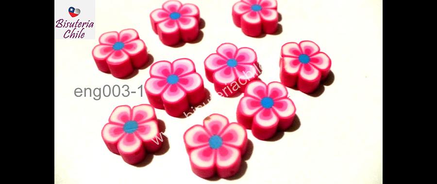 Flor engomada color rosado, 12 mm de diámetro, set de 9 unidades