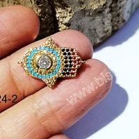 Dije doble conexión zirconita excelente calidad, mano de hamsa, 21 x 16 mm, por unidad