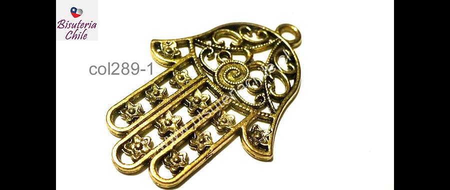 Colgante mano hamsa dorada, 46 mm de largo por 35 mm de ancho, por unidad