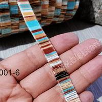 Cordón plano, diseño en color menta y café, 10 mm de ancho por metro
