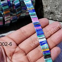 Cordón plano, diseño en color azules, rosados, menta y amarillo, 10 mm de ancho por metro