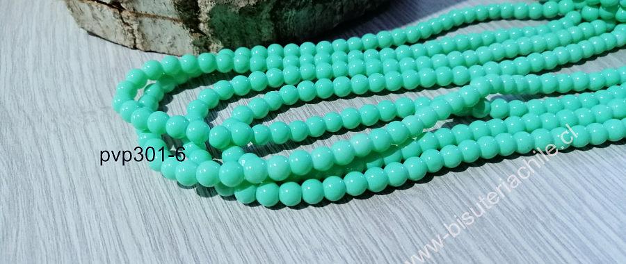 Perla de vidrio color menta de 6 mm, tira de 72 perlas aprox