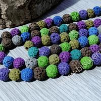 Piedra volcanica de colores, 8 mm, tira de 50 piedras aprox