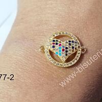 colgante zirconia dorada, doble conexión, en forma de corazón con circones, 20 x 15 mm, por unidad