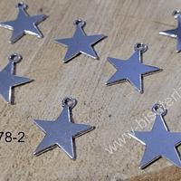 Dije plateado en forma de estrella plateado, 17 mm de diámetro, set de 8 unidades