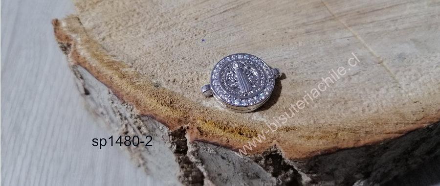 Dije San Benito doble conexión Zirconia Micro Pavé, excelente calidad, 15 mm.