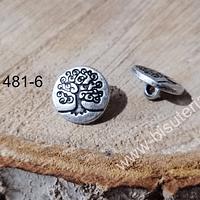 Botón con diseño árbol de la vida, 14 mm, set de 2 unidades