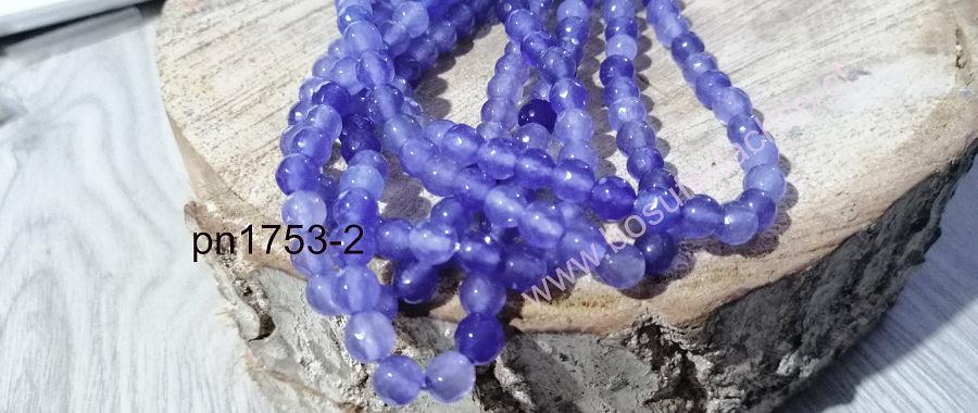 agata facetada de 6 mm, en tonos celestes, tira de 60 piedras aprox.