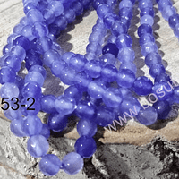 Agatas, agata facetada de 6 mm, en tonos celestes, tira de 60 piedras aprox.