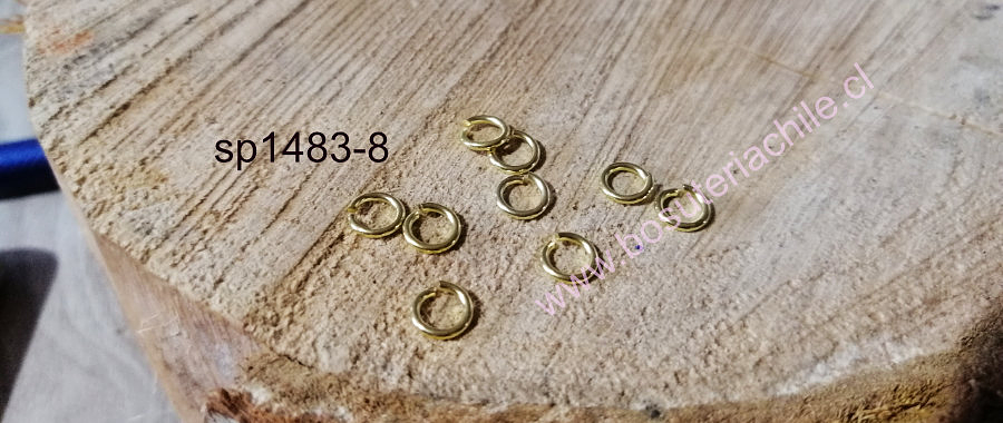 Argolla baño de oro, 6 mm, set de 1 grs.  (13 unidades aprox)