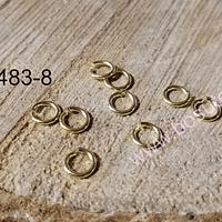 Argolla baño de oro, 6 mm, set de 9 unidades