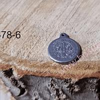 Dije acero en forma San Benito, 15 mm, por unidad