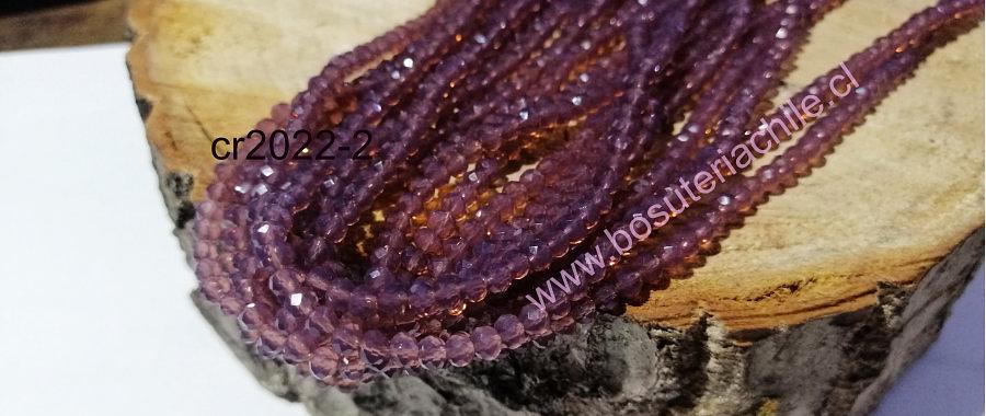 Cristal facetado morado de 4 mm, tira de 145 cristales