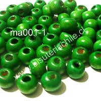 Cuenta de madera color verde 8 mm, bolsa de 25 grs. , 150  cuentas aprox.