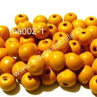 Cuenta de madera color amarillo 8 mm, bolsa de 25 grs. , 150 cuentas aprox.