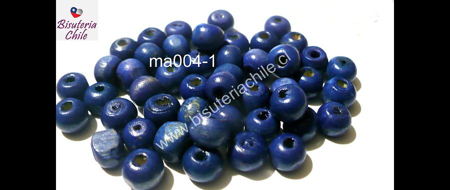Cuenta de madera color azul 8 mm, bolsa de 25 grs. , 150 cuentas aprox.