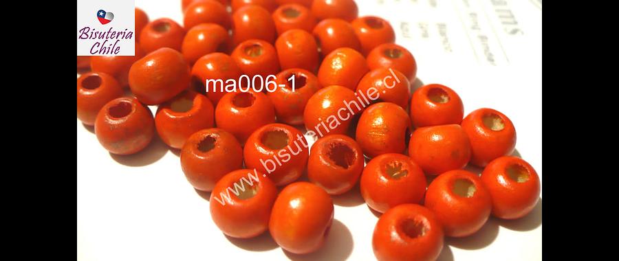 Cuenta de madera color naranja 8 mm, bolsa de 25 grs. , 150 cuentas aprox